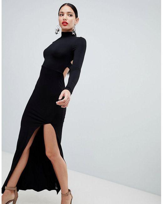 ASOS - Black Maxi Dress With Tab Back Detail - Lyst