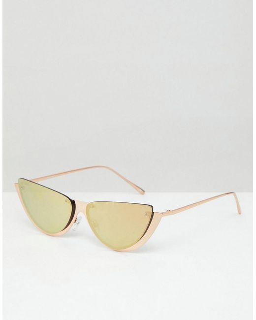 ASOS - Metallic Sliced Top Extreme Cat Eye Sunglasses - Lyst