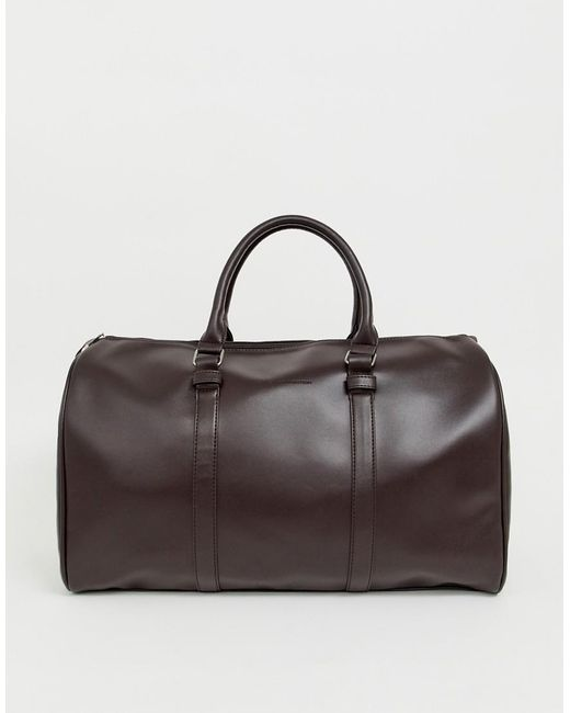 French Connection - Pu Weekend Carryall In Brown for Men - Lyst