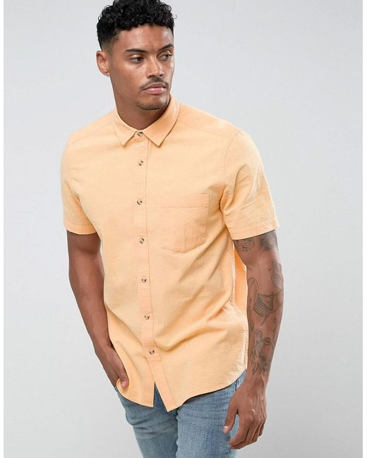 ASOS | Regular Fit Textured Shirt In Orange for Men | Lyst