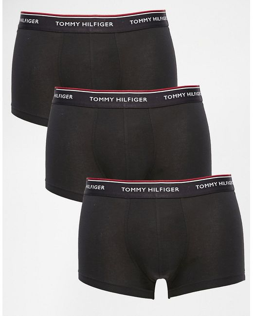 Tommy Hilfiger | Black Premium Essential Low Rise Stretch Trunks In 3 Pack for Men | Lyst