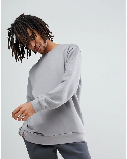 ASOS DESIGN - Asos Longline Sweatshirt In Gray for Men - Lyst
