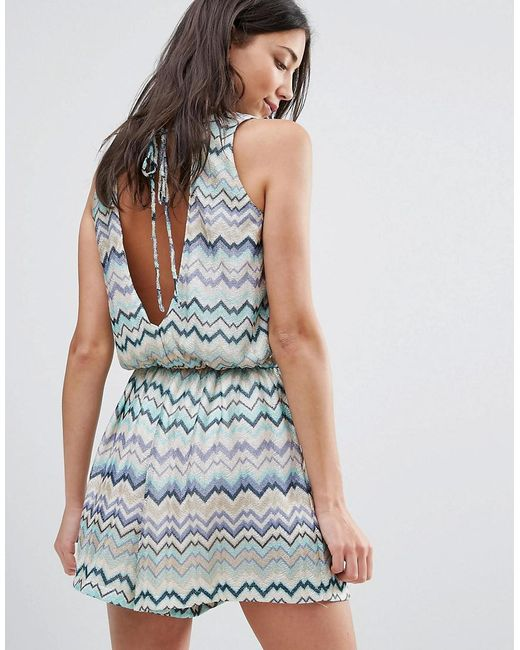 Traffic People | Blue Swirl Print Dress With Tie Back | Lyst