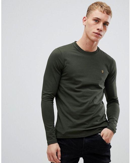 782824af Farah - Southall Super Slim Fit Logo Long Sleeve T-shirt In Green for Men  ...
