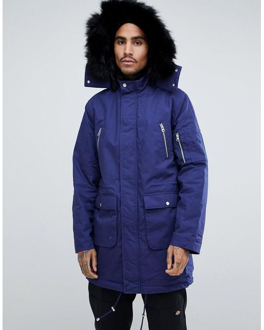 ASOS - Asos Heavyweight Parka With Faux Fur Lining In Blue for Men - Lyst