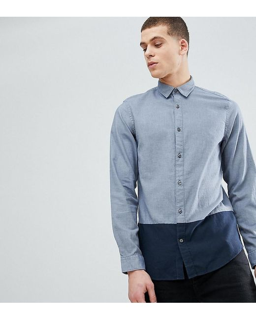50764eca0c SELECTED - Blue Regular Shirt With Colour Block And Contrast Buttons for  Men - Lyst ...