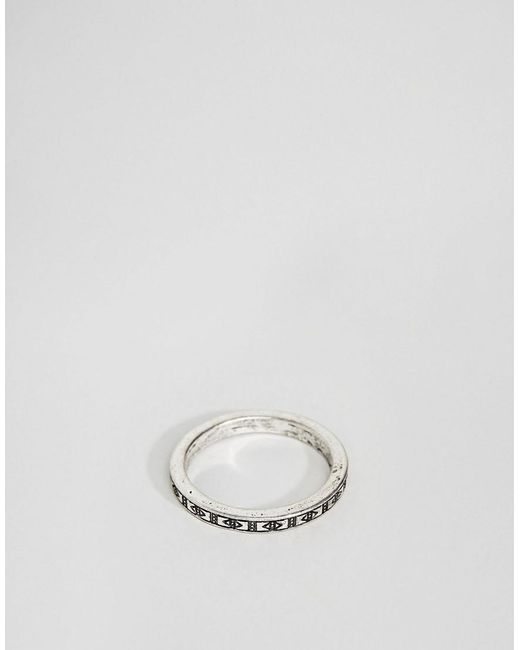 ASOS - Metallic Design Aztec Ditsy Ring In Burnished Silver for Men - Lyst
