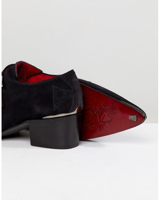 Sylvian Double Monk Suede Shoes - Black Jeffery West W6pAoPR