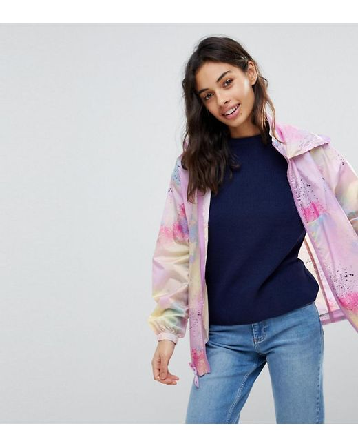 ASOS - Multicolor Rainwear Jacket With Bumbag In Pastel Spray Paint - Lyst