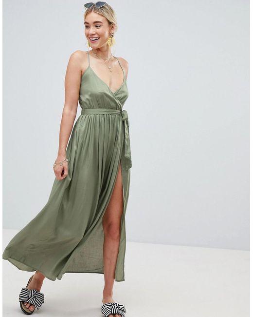 7b2bca7e1f ASOS - Green Woven Wrap Maxi Beach Dress - Lyst ...
