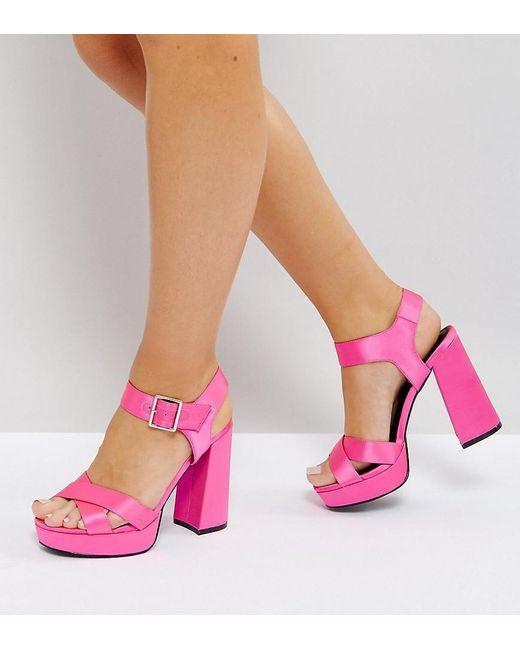 ASOS - Pink Hearts Wide Fit Platform Sandals - Lyst