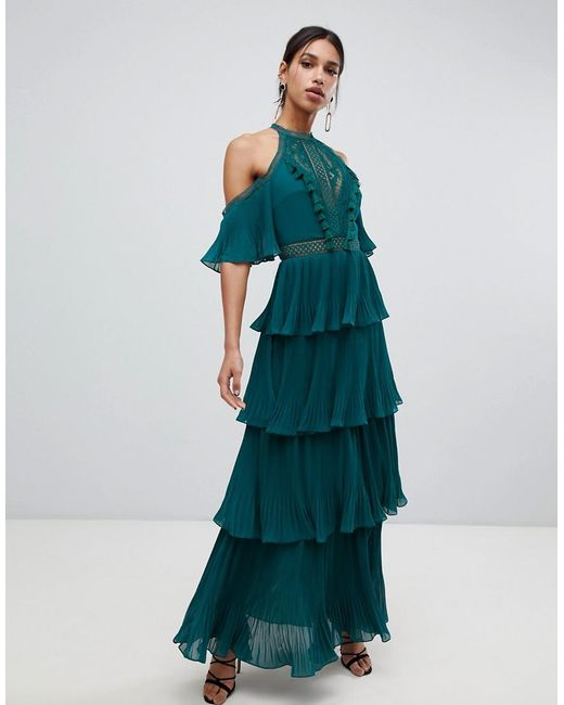 True Decadence - Cold Shoulder Tiered Maxi Dress With Tassel Detail In Forest Green - Lyst