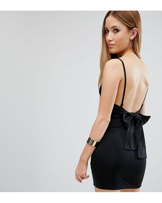 6175a346751 ASOS - Black Strappy Mini Bodycon Bow Back Dress - Lyst ...