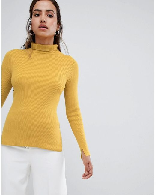 French Connection - Yellow Frennch Connection Viginie High Neck Fitted Sweater - Lyst