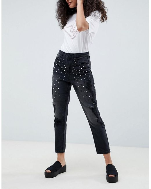 ONLY - Black Pearl Embellished Mom Jeans - Lyst