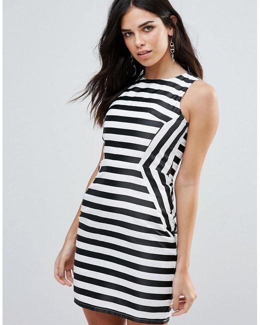 Zibi London   Black Striped Pencil Dress   Lyst