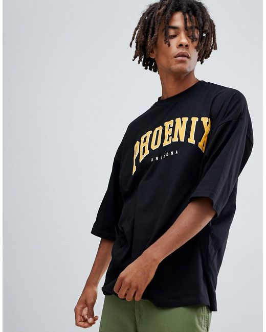 ASOS - Black Oversized T-shirt With Half Sleeve And Phoenix City Print for Men - Lyst