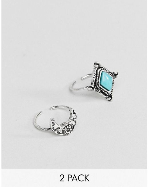 ASOS - Metallic Pack Of 2 Engraved Stone And Moon Toe Rings - Lyst