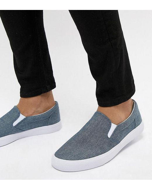 ASOS - Wide Fit Slip On Plimsolls In Blue Chambray for Men - Lyst