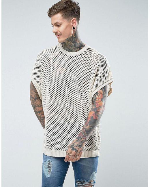 ASOS | Natural Sleeveless Mesh T-shirt for Men | Lyst