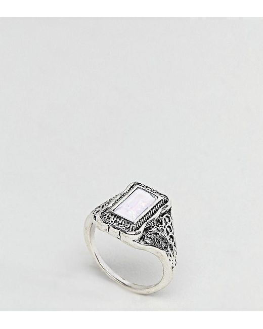 ASOS - Metallic Rectangle Stone Engraved Ring - Lyst