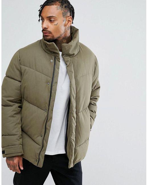 Lyst Asos Oversized Puffer Jacket In Khaki In Green For Men