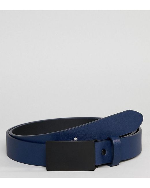 ASOS - Blue Plus Faux Leather Skinny Belt In Navy With Coated Plate for Men - Lyst