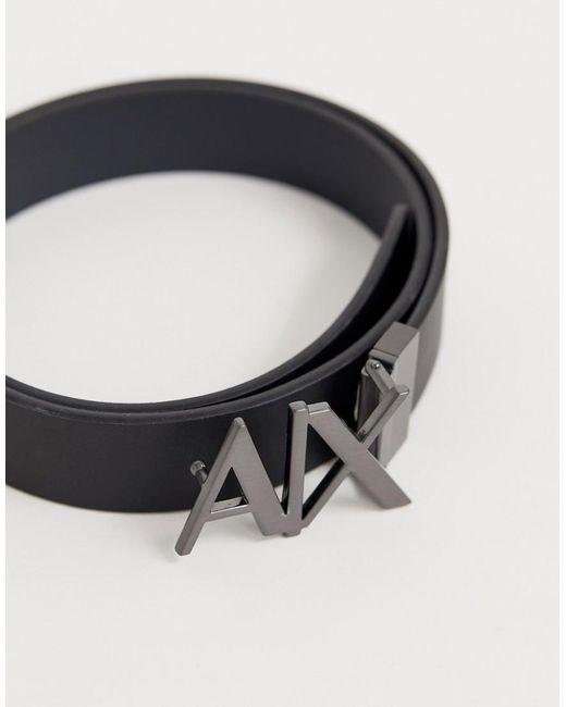 fca214e9e44 ... Armani Exchange - Black Ceinture rversible en cuir avec logo sur la  boucle for Men -