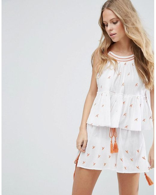 ASOS | White Beach Co-ord Embroidered Top | Lyst