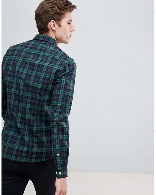 ebda97cb3966 ... ASOS - Blue Tall Skinny Check Shirt In Green for Men - Lyst