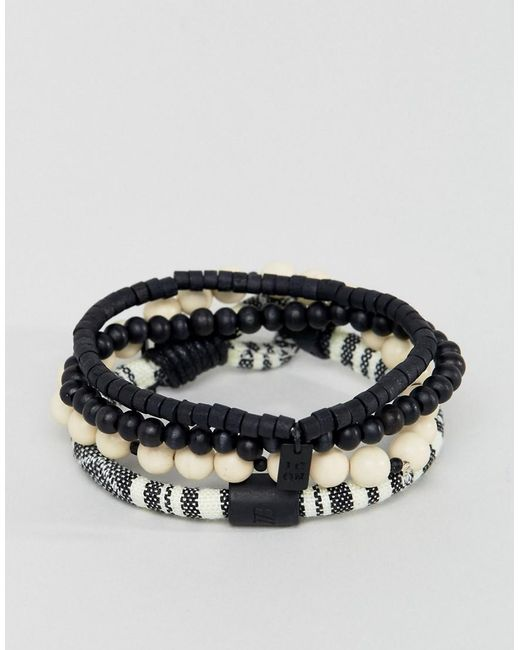 Icon Brand | Cream & Black Beaded & Cord Bracelets In 3 Pack for Men | Lyst