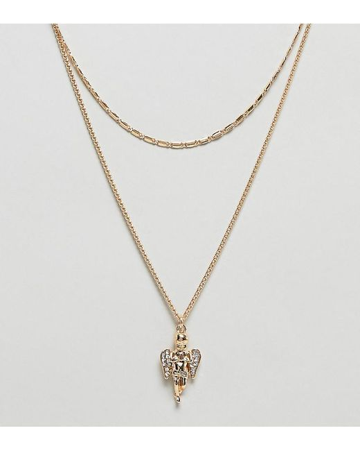ASOS - Metallic Asos Design Curve Multirow Necklace With Vintage Style Cherub Pendant In Gold - Lyst
