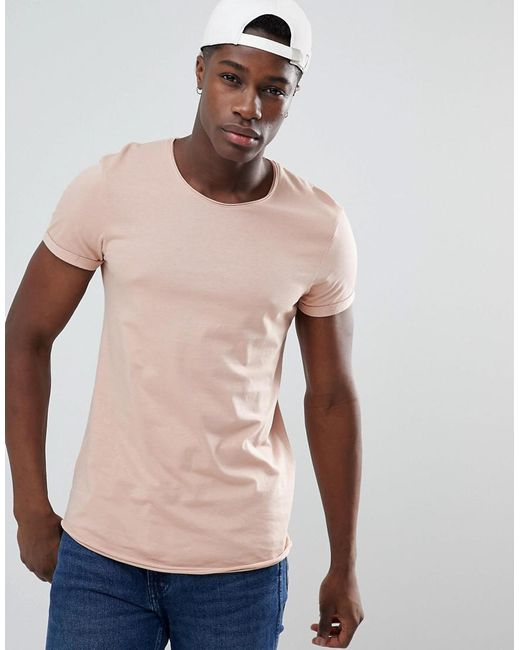 Esprit - Longline T-shirt With Raw Curved Hem In Dusty Pink for Men - Lyst