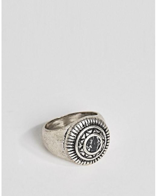 ASOS DESIGN - Metallic Embellished Signet Ring With Black Look Stone for Men - Lyst