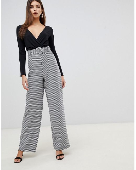 d17d89dcce4 Lipsy - Gray 2 In 1 Dogtooth Jumpsuit In Monochrome - Lyst ...