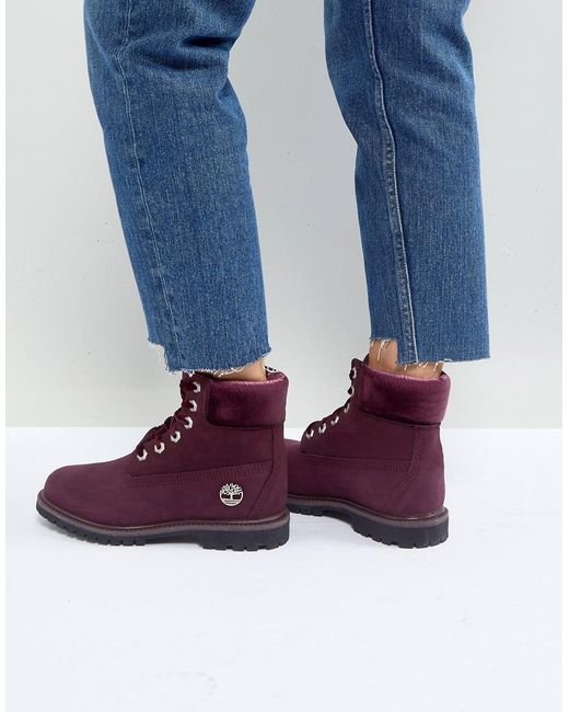 Timberland - Purple 6 Inch Premium Burgandy Lace Up Boots - Lyst