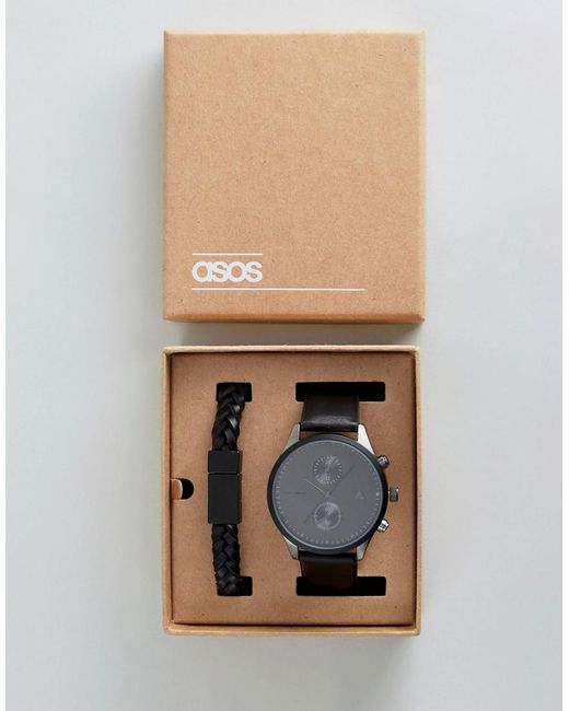 ASOS - Gift Set With Watch And Bracelet In Matte Black for Men - Lyst