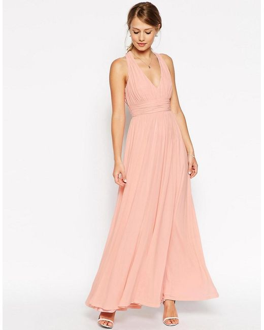 ASOS   Natural Wedding V Neck Twist Back Maxi Dress   Lyst