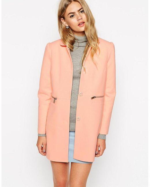ASOS | Orange Coat With Peter Pan Collar | Lyst