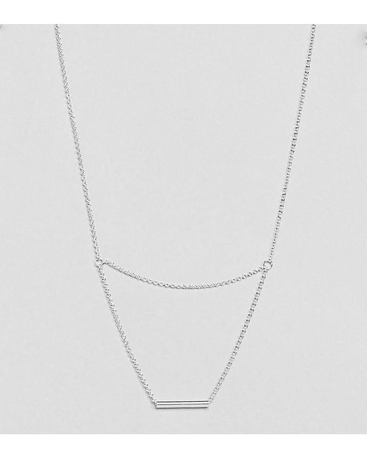 ASOS | Metallic Sterling Silver Fine Bar Multirow Necklace | Lyst