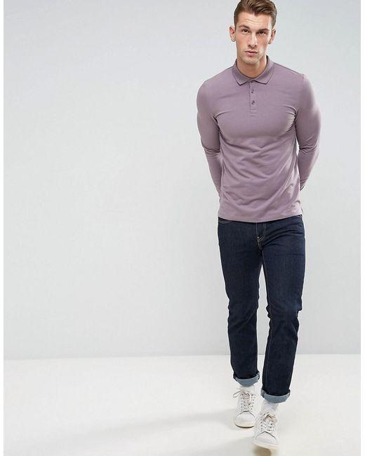 ... ASOS - Muscle Fit Long Sleeve Jersey Polo In Purple for Men - Lyst