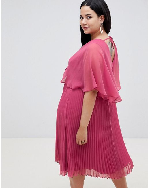 3c1ddc14902 ... ASOS - Pink Asos Design Curve Flutter Sleeve Midi Dress With Pleat Skirt  - Lyst