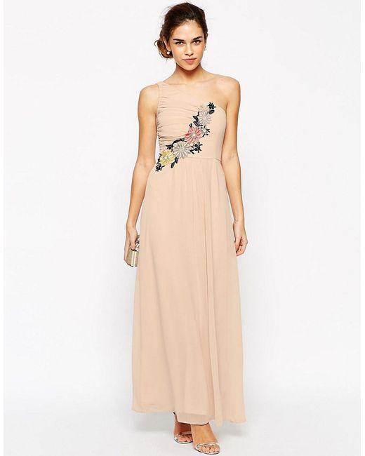 Elise Ryan | Blue Pleated One Shoulder Maxi Dress With Crochet Applique Trim | Lyst
