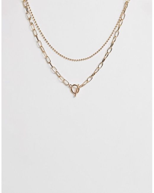 ASOS - Metallic Multirow Necklace With Ball And Open Link Chain And toggle Detail In Gold Tone - Lyst