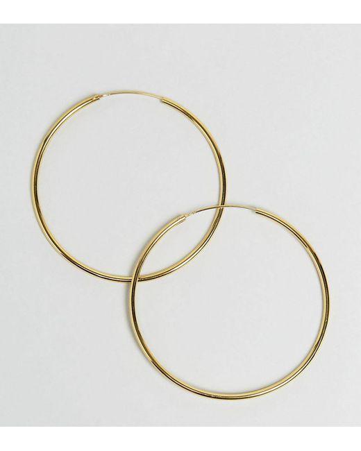 ASOS - Metallic Gold Plated Sterling Silver 60mm Hoop Earrings - Lyst