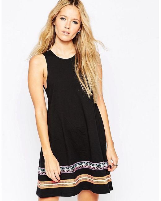 ASOS | Black Swing Dress With Embroidered Tape Detail | Lyst