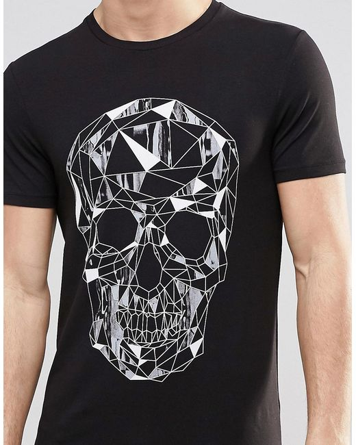 Asos Muscle T-shirt With Geometric Skull Print in Black ...