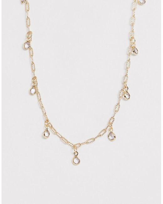 ASOS Metallic Choker Necklace With Delicate Crystal Pendants In Gold Tone