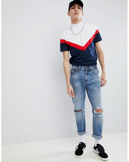ASOS - Blue Longline T-shirt With Turtle Neck And Chevron Cut And Sew In Navy for Men - Lyst