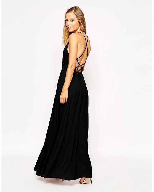 ASOS | Black Maxi Dress With Tie Back | Lyst